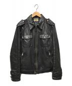 ()の古着「フロントポケットレザージャケット」|ブラック