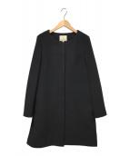 ()の古着「ノーカラーコート」|ブラック