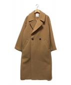 ()の古着「Wフェイスビッグカラーコート」 ブラウン
