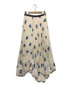 ()の古着「フラワープリントプリーツスカート」|アイボリー×ブルー