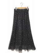 ()の古着「ドットギャザースカート」 ブラック
