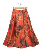 ()の古着「メッシュフラワープリントスカート」|レッド×ベージュ
