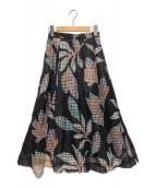 ()の古着「メッシュフラワープリントスカート」|ブラック×ホワイト