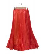 ()の古着「切替プリーツスカート」|レッド