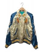 ()の古着「スカジャン」 ブルー×ホワイト