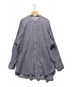 ()の古着「ノーカラーストライプシャツ」|ブルー×ホワイト