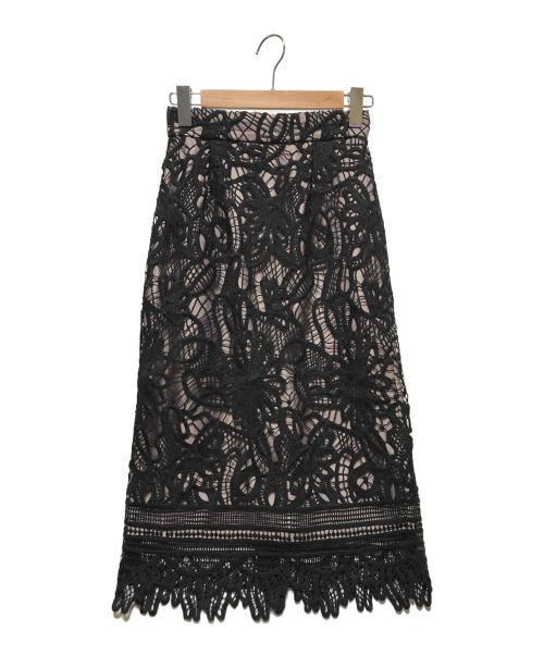 JUSGLITTY(ジャスグリッティー)JUSGLITTY (ジャスグリッティー) レースロングタイトスカート ブラック サイズ:0(下記参照)の古着・服飾アイテム