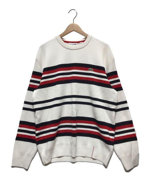 LACOSTE(ラコステ)LACOSTE (ラコステ) ボーダーニット ホワイト×ネイビー サイズ:Mの古着・服飾アイテム