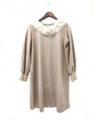 etoffe et soeur(エトフ・エ・スール)の古着「ファー装飾ウールワンピース」 ベージュ