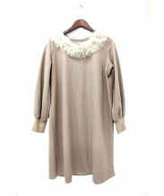 etoffe et soeur(エトフ・エ・スール)の古着「ファー装飾ウールワンピース」|ベージュ