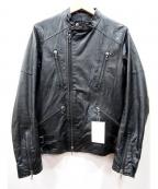 SHELLAC(シェラック)の古着「ゴートレザーシングルライダースジャケット」 ブラック