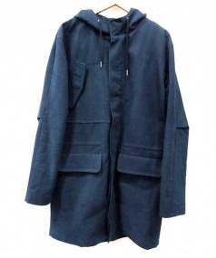 A.P.C.(アーペーセー)の古着「フーデッドコットンロングコート」|ネイビー