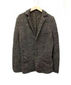 45R(45アール)の古着「リネン3Bニットジャケット」 ブラウン×グレー