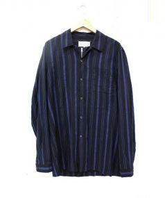 Martin Margiela 10(マルタンマルジェラ 10)の古着「ジッパーオープンカラーシャツ」 ブラック×ブルー
