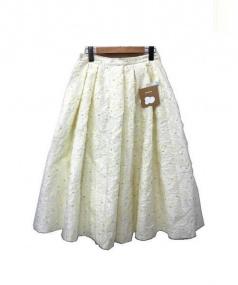 haupia(ハウピア)の古着「ゼブラの花柄スカート」|アイボリー×イエロー