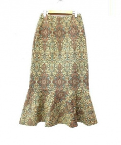 leur logette(ルルロジェッタ)の古着「総柄織フレアロングスカート」|イエロー