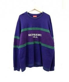 SUPREME(シュプリーム)の古着「Center Stripe Crewneck Sweater」|パープル