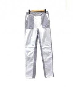 MM6(エムエムシックス)の古着「リネン切替テーパードパンツ」 ブルー×ホワイト