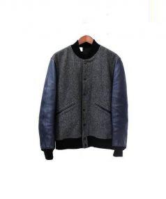 N.HOOLYWOOD(エヌハリウッド)の古着「レザースリーブアワードジャケット」|グレー×ネイビー