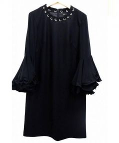 MULLER(ミューラー)の古着「フレアスリーブウールブラウスワンピース」|ブラック