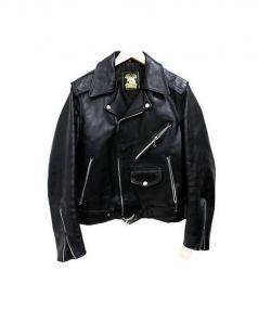 666(シックスシックスシックス)の古着「レザーダブルライダースジャケット」|ブラック