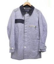 JUNYA WATANABE MAN × HERVIER(ジュンヤワタナベメン×エルヴィエ)の古着「綿麻コードレーンハーフコート」|ブルー