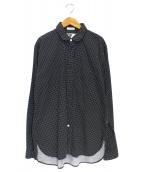 Engineered Garments(エンジニアードガーメンツ)の古着「ラウンドカラードットロングシャツ」|ブラック×ホワイト