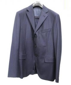 Belvest × ISETAN(ベルヴェスト×イセタン)の古着「ストライプウール3Bセットアップスーツ」|ネイビー