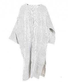 45R(フォーティーファイブアール)の古着「カディシルクヒッコリーワンピース」|ホワイト×ネイビー