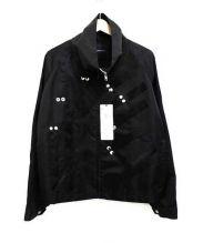ALMOSTBLACK(オールモストブラック)の古着「スタンドカラーナイロンジャケット」|ブラック