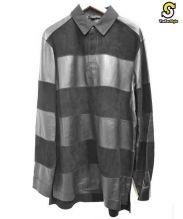 ALEXANDER WANG(アレキサンダーワン)の古着「レザーラグビーポロシャツ」 ブラック