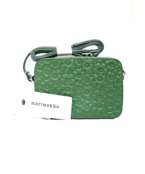 65428f09a180 marimekko (マリメッコ) エンボスレザーショルダーバッグ グリーン 未使用品 完売品 参考定価¥26.000程度 UNIKKO  EMBOSSED LEATHER / NERVA