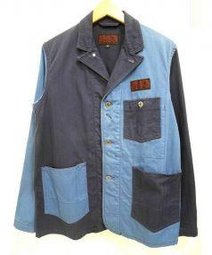 Engineered Garments(エンジニアド ガーメンツ)の古着「バックプリントクレイジーパターンカバーオール」|ブルー×ネイビー