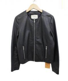 UNITED ARROWS(ユナイテッド アローズ)の古着「ノーカラーシープレザーシングルライダースジャケット」 ブラック
