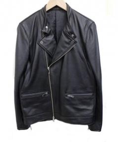 STUDIOUS(ステュディオス)の古着「ラムレザーセミダブルライダースジャケット」 ブラック