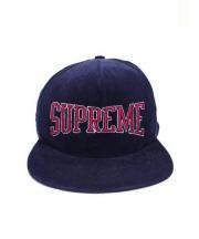 Supreme(シュプリーム)の古着「コーデュロイロゴ5パネルキャップ」|ネイビー