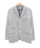 Engineered Garments(エンジニアド ガーメンツ)の古着「シアサッカーヒッコリーストライプテーラードジャケット」|ホワイト×ネイビー