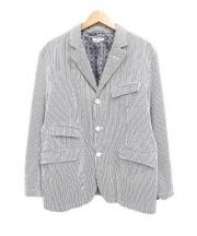 Engineered Garments(エンジニアド ガーメンツ)の古着「シアサッカーヒッコリーストライプテーラードジャケット」 ホワイト×ネイビー