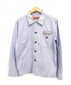 TENDERLOIN(テンダーロイン)の古着「ワッペンストライプシャツ」|ブルー
