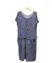mina perhonen(ミナペルフォネン)の古着「リップルマークスカットソードレスワンピース」 ネイビー