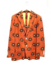 ERNESTO(エルネスト)の古着「総柄リネンテーラードジャケット」|オレンジ