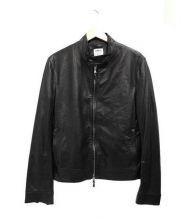 EMMETI(エンメティ)の古着「シープレザーシングルライダースジャケット」|ブラック