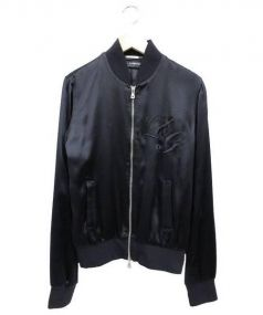 DOLCE & GABBANA(ドルチェ&ガッバーナ)の古着「シルク100%ジップアップブルゾントラックジャケット」|ブラック