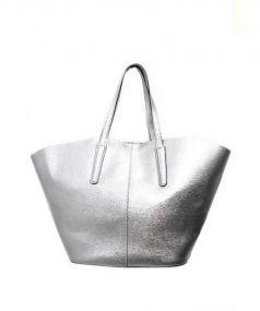 GIANNI CHIARINI(ジャンニ キャリーニ)の古着「レザートートバッグ」|シルバー