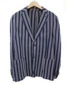 eleventy(イレブンティ)の古着「ストライプ柄2Bジャケット」|ホワイト×ブルー