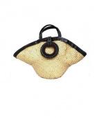 ebagos(エバゴス)の古着「レザーハンドルカゴトートバッグ」|ベージュ