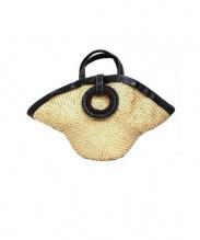 ebagos(エバゴス)の古着「レザーハンドルカゴトートバッグ」 ベージュ