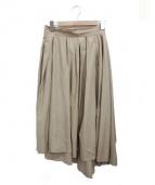 MADISON BLUE(マディソンブルー)の古着「ウオッシュドアウトタックボリュームスカート」|カーキ
