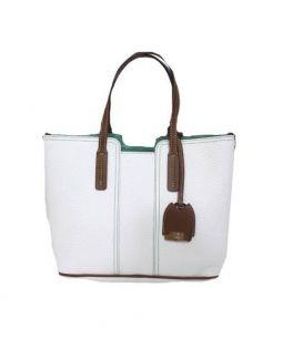 GHERARDINI(ゲラルディーニ)の古着「リバーシブルレザートートバッグ」|グリーン×ホワイト