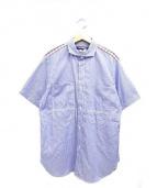 CDG JUNYA WATANABE MAN(コムデギャルソン ジュンヤワタナベ)の古着「チェック切替ストライプシャツ」|ブルー×レッド